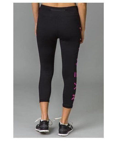 Fitwear 3/4 Text Leggings Pink-Fitwear-Gym Wear