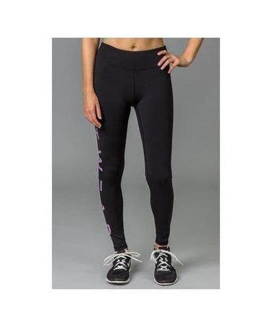 Fitwear Text Leggings Purple-Fitwear-Gym Wear