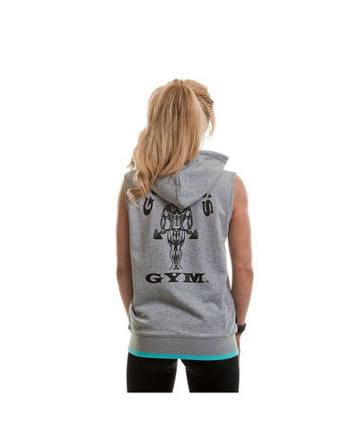 Gold's Gym Muscle Joe Fitted Sleeveless Hoodie Grey