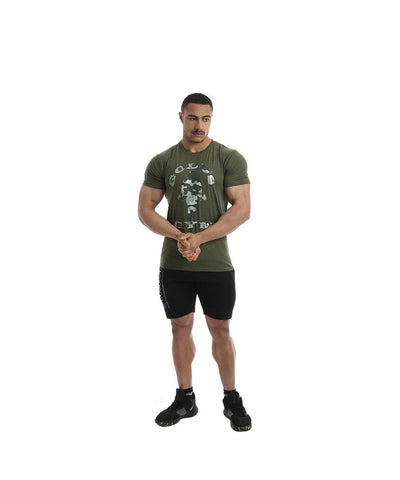 Gold's Gym Muscle Joe Camo Gym T-Shirt Green