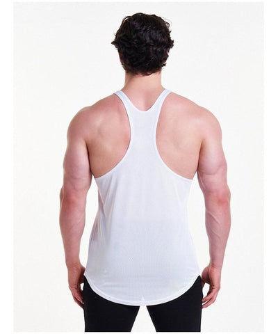 Pursue Fitness Mesh Back Stringer Vest White-Pursue Fitness-Gym Wear