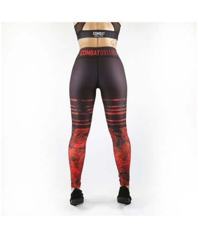 Combat Dollies Red Eclipse Fitness Leggings-Combat Dollies-Gym Wear