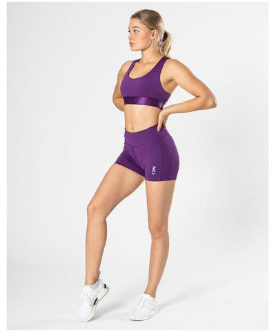 ICIW Stripe High Waisted Shorts Purple-ICIW-Gym Wear