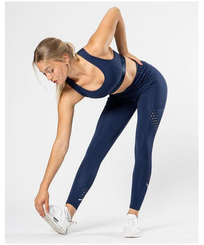 ICIW 7/8 Stripe High Waisted Leggings Navy-ICIW-Gym Wear