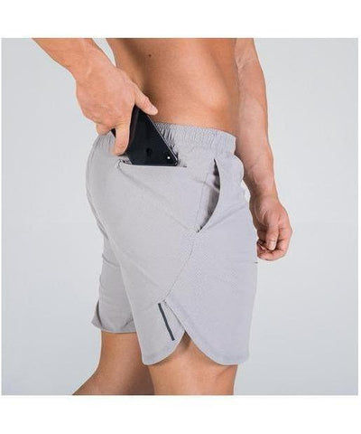 Squat Wolf 2-in-1 Dry Tech Shorts Grey-Squat Wolf-Gym Wear