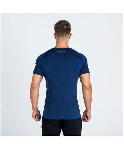 Squat Wolf Seamless Dry Knit T-Shirt Port Electro Blue-Squat Wolf-Gym Wear