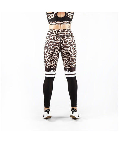 Combat Dollies Leopard Print Half Mesh Fitness Leggings