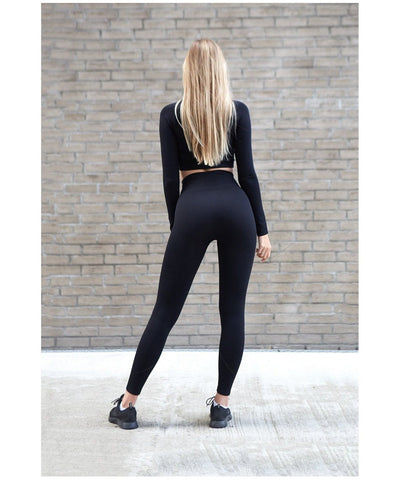 Famme Cassini High Waisted Leggings Black-Famme-Gym Wear