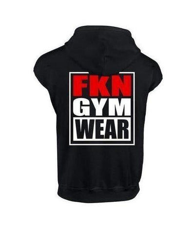 Mens Sleeveless FKN Gym Wear Hoodie Black-FKN Gym Wear-Gym Wear