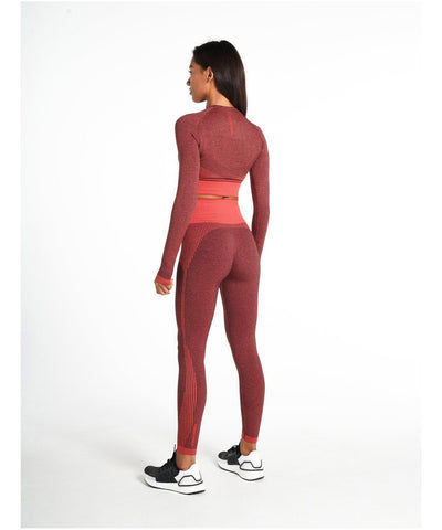 Pursue Fitness ADAPT Seamless Long Sleeve Crop Top Red-Pursue Fitness-Gym Wear