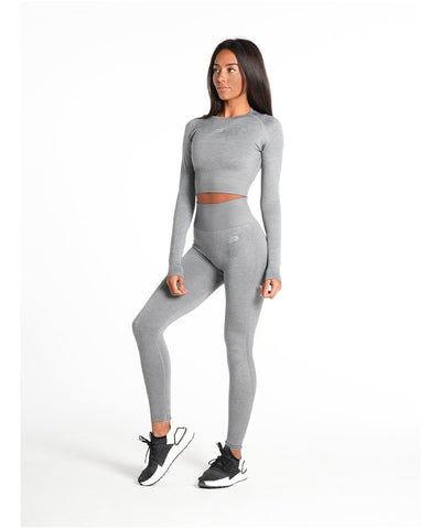 Pursue Fitness ADAPT Seamless Long Sleeve Crop Top Light Grey-Pursue Fitness-Gym Wear