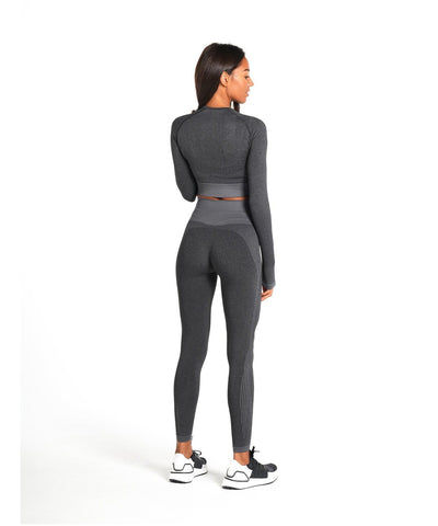 Pursue Fitness ADAPT Seamless Long Sleeve Crop Top Charcoal-Pursue Fitness-Gym Wear