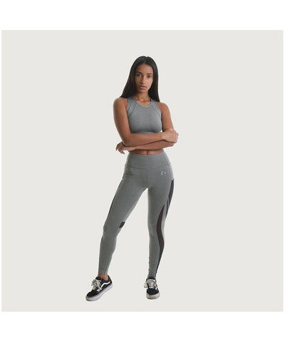 RIPT Performance Leggings With Contrast Mesh Panels Grey-RIPT-Gym Wear