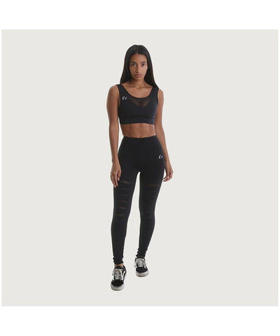 RIPT Performance Leggings With Ripped Leg Black-RIPT-Gym Wear