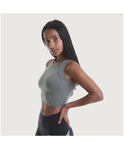 RIPT Racerback Performance Crop Top Grey-RIPT-Gym Wear