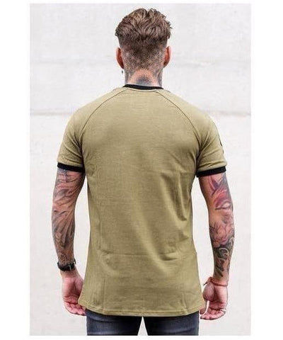 Sinners Attire Ringer T-Shirt Khaki-Sinners Attire-Gym Wear