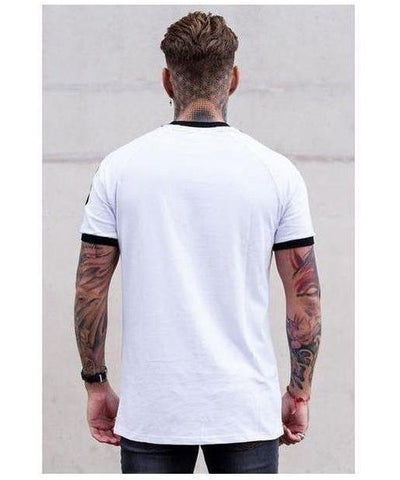 Sinners Attire Ringer T-Shirt White-Sinners Attire-Gym Wear