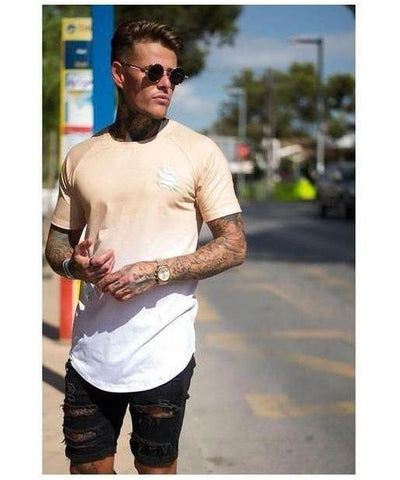 Sinners Attire Dip Dye Raglan T-Shirt Sand/White-Sinners Attire-Gym Wear