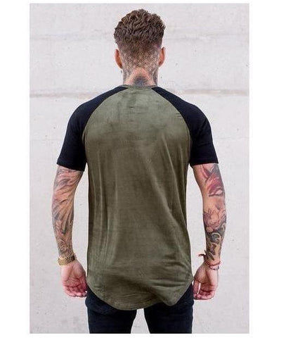 Sinners Attire Suede Raglan T-Shirt Khaki/Black-Sinners Attire-Gym Wear