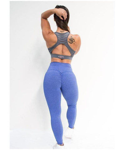 Stop It I Like It High Waisted Scrunch Leggings Blue-Stop It I Like It-Gym Wear