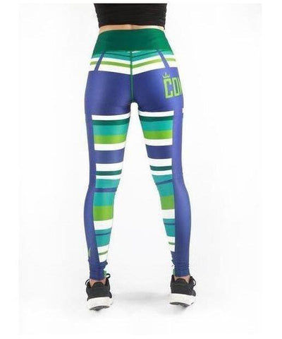 Combat Dollies Aqua Stripes Fitness Leggings-Combat Dollies-Gym Wear