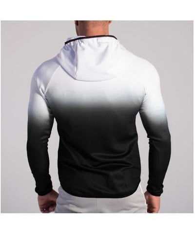 GymJam Fine Fit Fade Hoodie White/Black-GymJam-Gym Wear