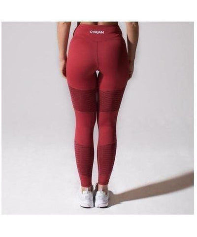 GymJam Aura Mesh High Waisted Leggings Burgundy-GymJam-Gym Wear