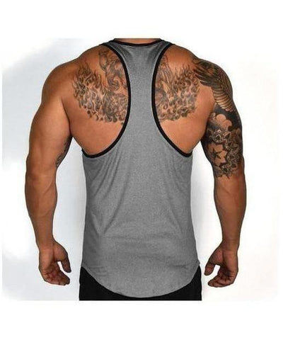 RyderWear Flight TBack Stringer Vest Charcoal-RyderWear-Gym Wear
