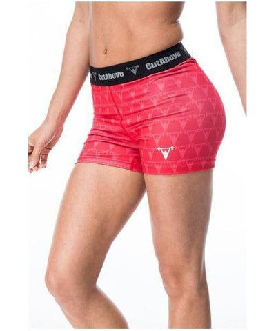 Cut Above Monogram Shorts Red-Cut Above-Gym Wear