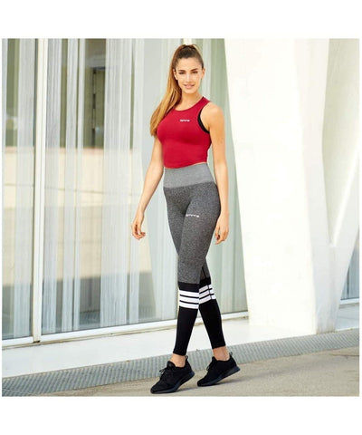 Famme Elevate High Waisted Stripe Leggings Grey-Famme-Gym Wear