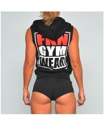 Womens FKN Sleeveless 'Shoulders Are Sexy' Hoodie Black-FKN Gym Wear-Gym Wear