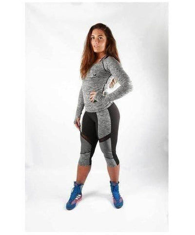Combat Dollies Long Sleeve Top Grey-Combat Dollies-Gym Wear