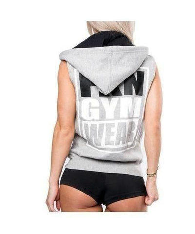 Womens FKN Sleeveless 'Shoulders Are Sexy' Hoodie Grey-FKN Gym Wear-Gym Wear