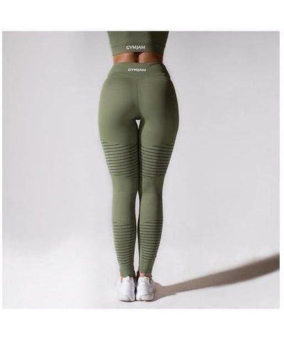 GymJam Aura Mesh High Waisted Leggings Khaki-GymJam-Gym Wear