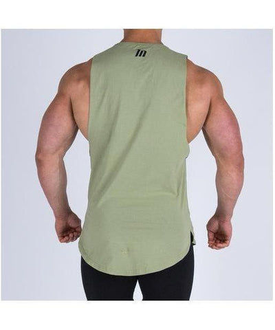 Muscle Nation Oversize Drop Armhole Sleeveless T-Shirt Khaki-Muscle Nation-Gym Wear