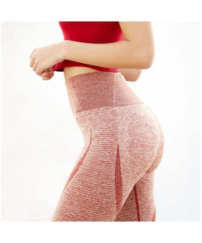 Famme Elevate Vortex High Waisted Leggings Ruby-Famme-Gym Wear