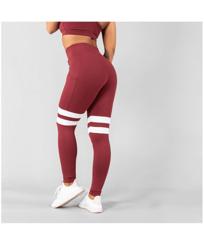 Versa Forma Vivekk High Waisted Leggings Maroon-Versa Forma-Gym Wear
