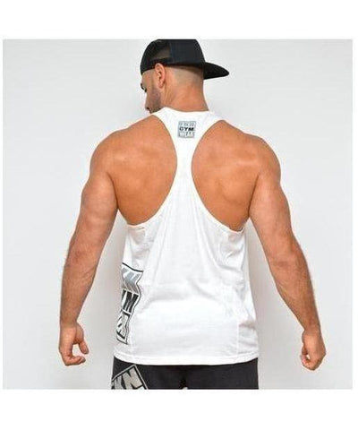 Mens FKN Takeover TBack Stringer Vest White-FKN Gym Wear-Gym Wear