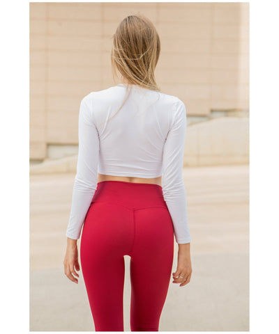 Famme Essential High Waisted Leggings Red-Famme-Gym Wear