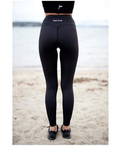 Famme Red Track Leggings Black-Famme-Gym Wear
