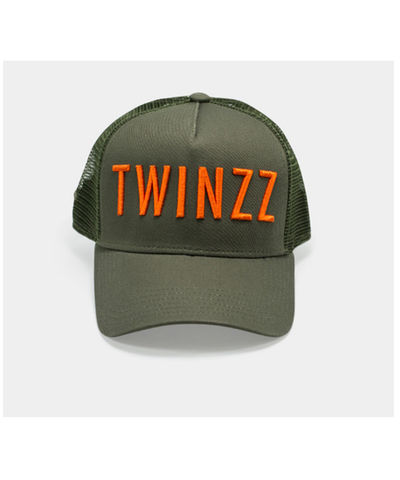 Twinzz 3D Mesh Trucker Cap Green/Orange-Twinzz-Gym Wear