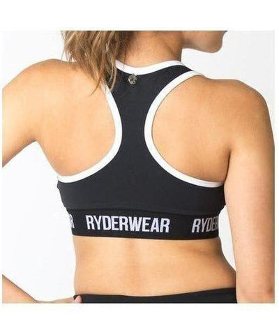 RyderWear Womens Zip Up Sports Bra Black-RyderWear-Gym Wear
