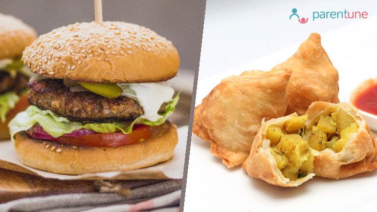 Is samosa a better option than a burger as junk food