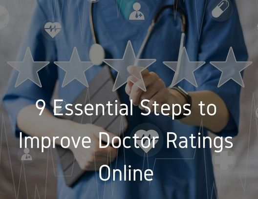 "5 star symbols and text reading ""9 Essential Steps to Improve Doctor"""