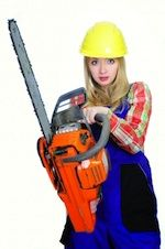 woman holding chainsaw