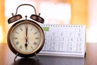 clock and calendar on counter top