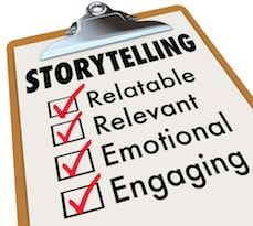 paper on clipboard listing storytelling marketing magic
