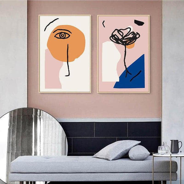 Abstract Face And Flower Canvas Prints-Heart N' Soul Home-Heart N' Soul Home
