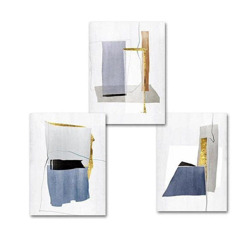 Aiden Blue And Gold Abstract Art Canvas Painting Prints-Heart N' Soul Home-Heart N' Soul Home