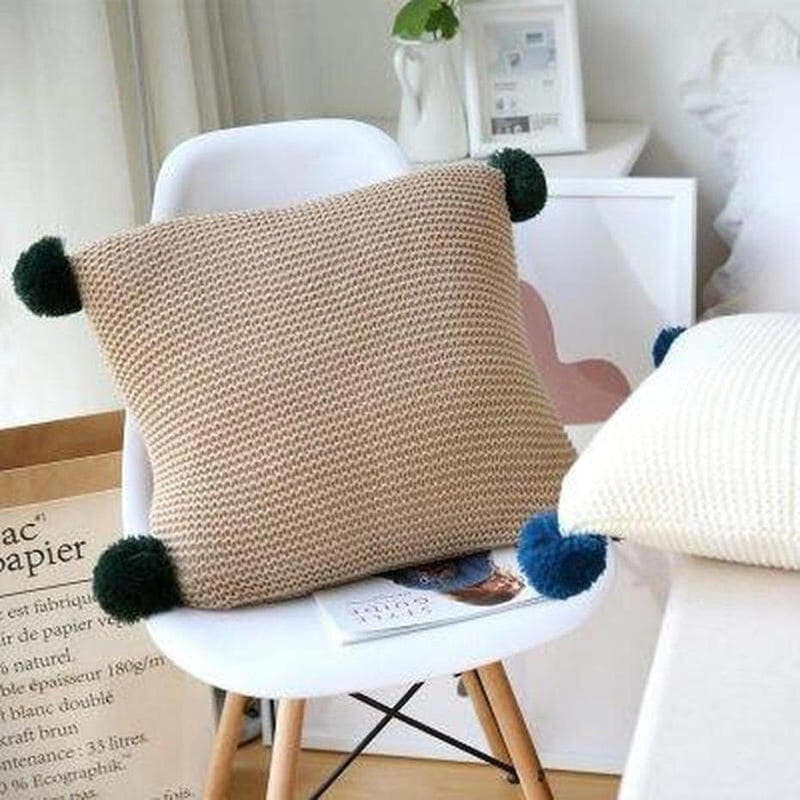 Alexis Knitted Cushion Cover-Heart N' Soul Home-45x45CM NO FILLING-D-Heart N' Soul Home